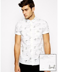 Asos Brand Shirt In Short Sleeve With Hand Drawn Number Print