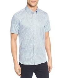 Ted Baker London Panalon Geo Floral Print Extra Slim Fit Sport Shirt