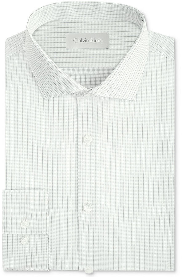 Calvin klein platinum slim fit white mini check dress for Buy white dress shirt