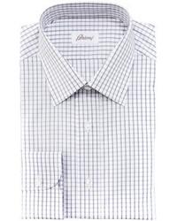 Brioni Check Dress Shirt Graywhite