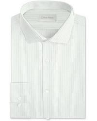 Calvin Klein Platinum Slim Fit White Mini Check Dress Shirt