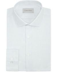 Calvin Klein Platinum White Texture Mini Check Dress Shirt
