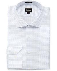 Neiman Marcus Regular Finish Classic Fit Grid Check Dress Shirt White