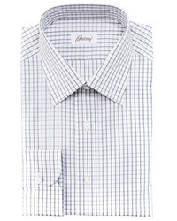 Brioni Check Dress Shirt Graywhite