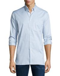 Burberry Matlock Gingham Long Sleeve Sport Shirt Light Gray Melange