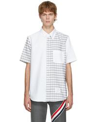 Thom Browne White Grey Checked Short Sleeve Shirt