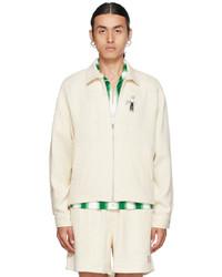 Bode Off White Basket Weave Zip Up Jacket