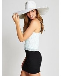 GUESS White Straw Tie Hat