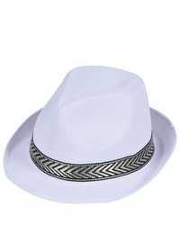 Rhode island novelty modern gangster white mesh fedora with contrasting gold hat band medium 74963