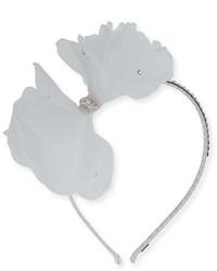 Bari Lynn Organza Bow Rhinestone Headband White