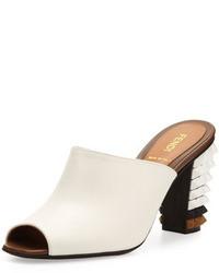 Fendi Leather Pyramid Stud Heel Slide Whiteblack