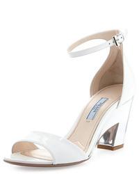 Prada Patent Cutout Heel Sandal Whitesilver