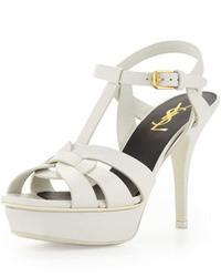 Saint Laurent Tribute Leather Mid Heel Platform Sandal White