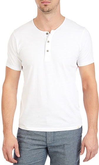 Ag jeans the commute ss henley true white where to buy for Kim kardashian henley shirt
