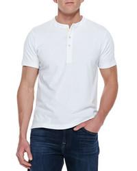 Billy Reid Pensacola Short Sleeve Henley Shirt White