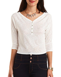 Charlotte Russe Cropped Slub Knit Henley Top