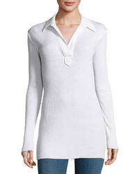 Helmut Lang Collared Henley Top Optic White