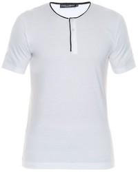 Dolce & Gabbana Contrast Piping Henley T Shirt