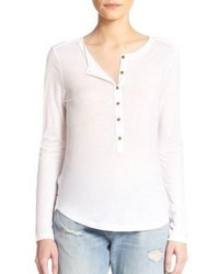 J Brand Gretchen Long Sleeve Henley Tee