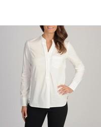 Isaac Mizrahi White Henley Woven Shirt