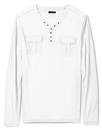 DKNY Jeans Shirt V Neck Snap Henley