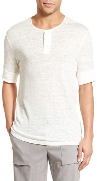 Vince Linen Jersey Henley T Shirt