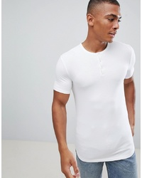 ASOS DESIGN Muscle Fit T Shirt With Grandad Neck In White