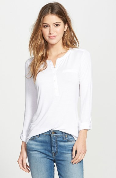 Nydj Woven Trim Pleat Back Henley Top Where To Buy How