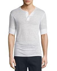 Vince Short Sleeve Linen Henley Shirt Linen White