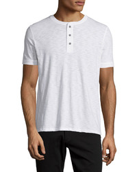 Short sleeve slub henley t shirt white medium 404993