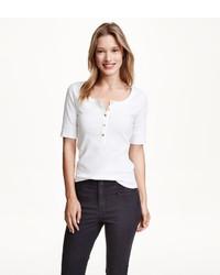 H&M Short Sleeved Henley Shirt Dark Bluestriped