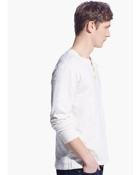 Mango Slub Cotton Henley T Shirt