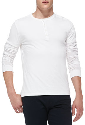 Vince long sleeve jersey henley white where to buy how for Kim kardashian henley shirt