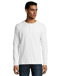 Matiere White Cotton Basketwoven Detail Henley T Shirt