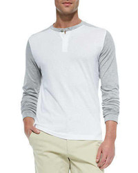 Theory Colorblock Long Sleeve Henley Off Whitegray