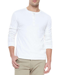 Vince Long Sleeve Jersey Henley White