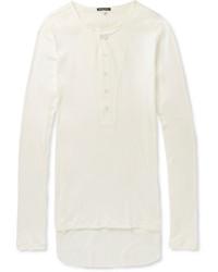 Ann Demeulemeester Ribbed Cotton Jersey Henley T Shirt