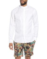 Topman Grandad Slim Fit Herringbone Button Up Shirt
