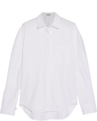 Balenciaga Herringbone Cotton Shirt White
