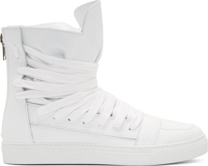 ... Kris Van Assche Krisvanassche White Multi Lace High Top Sneakers ... de5727030