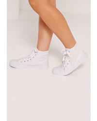 Missguided High Top Lace Up Toe Cap Trainers White