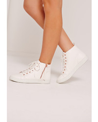 Missguided White Contrast Zip High Top Sneakers