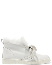 Pedro Garcia Parley Faux Fur Lined Nubuck High Top Sneakers Off White
