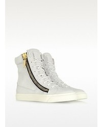Giuseppe Zanotti White Tumbled Calfskin High Top Sneaker