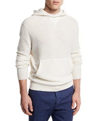 Ermenegildo Zegna Cashmere Hooded Pullover Sweater White