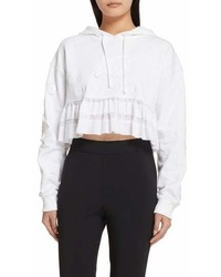 Opening Ceremony Embroidered Ruffle Hem Crop Hoodie