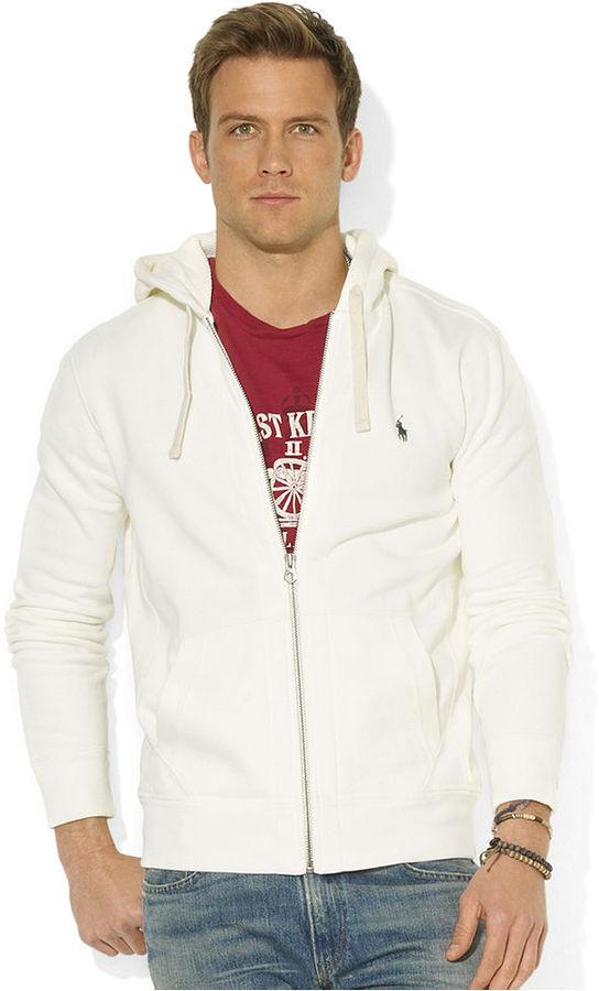 ... White Hoodies Polo Ralph Lauren Hoodie Classic Zip Front Fleece Hoodie