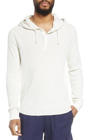 Vince Regular Fit Thermal Knit Pullover Hoodie