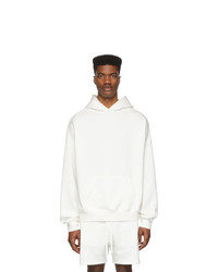 Essentials White Reflective Logo Hoodie