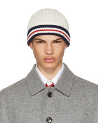 Thom Browne White Rib Cricket Stripe Beanie